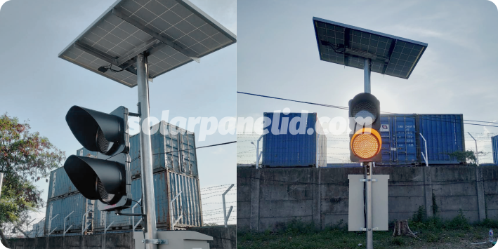distributor paket solar warning solarcell light 2 aspek 30cm murah