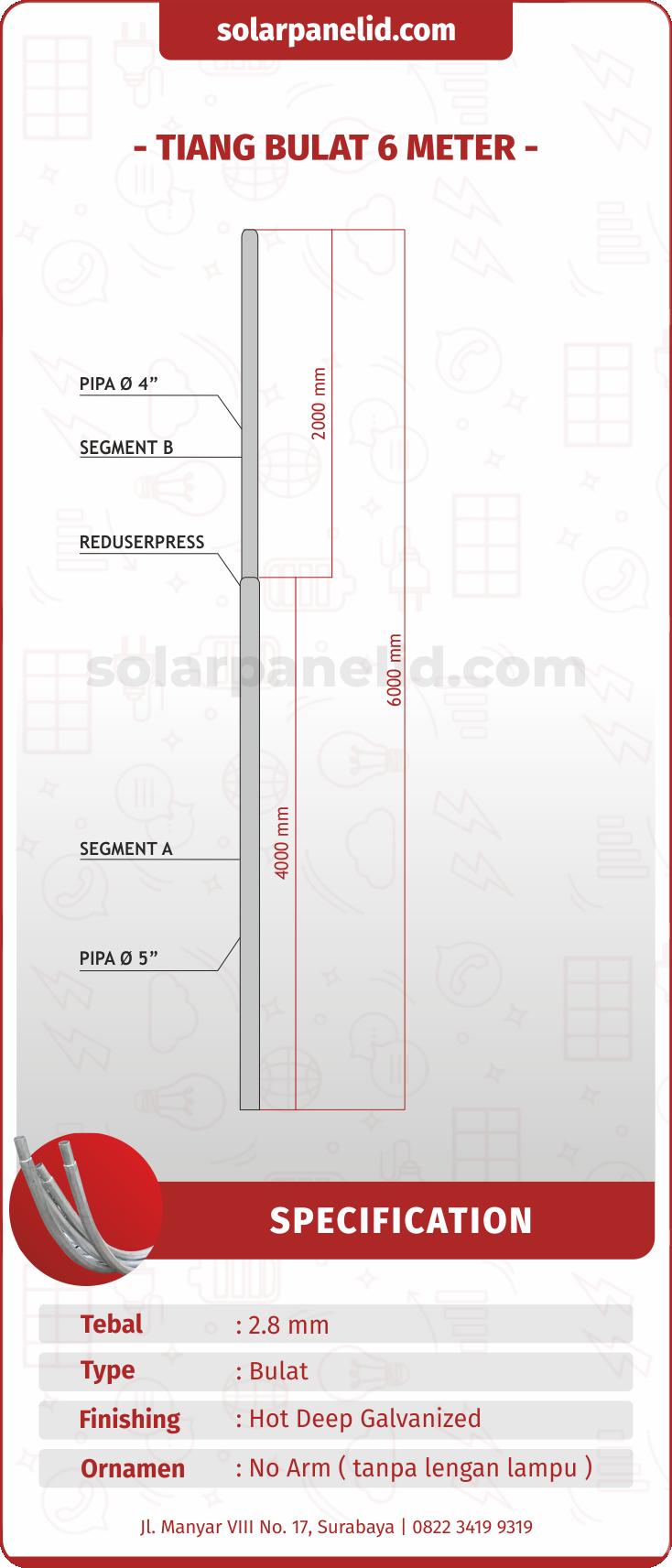 harga tiang pju bulat solarcell 6 meter galvanis murah