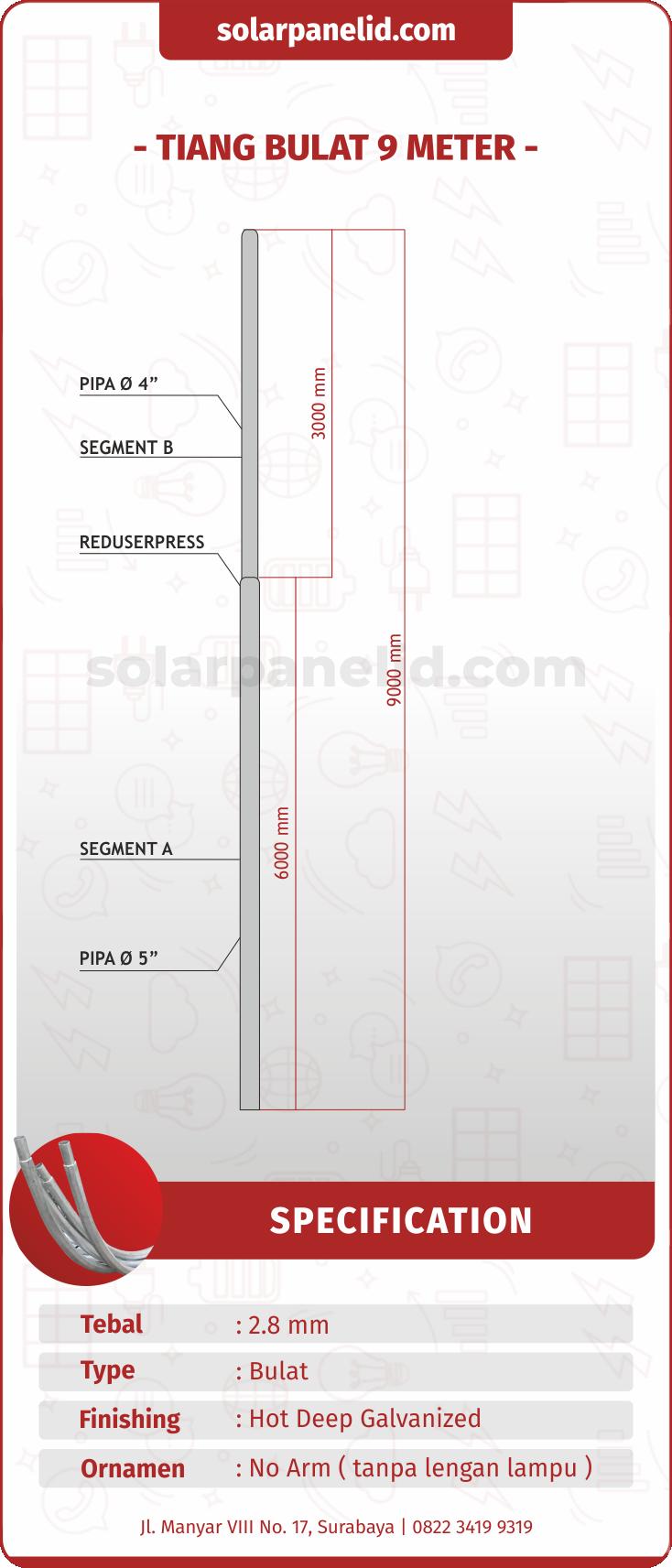 harga tiang pju bulat solarcell 9 meter galvanis
