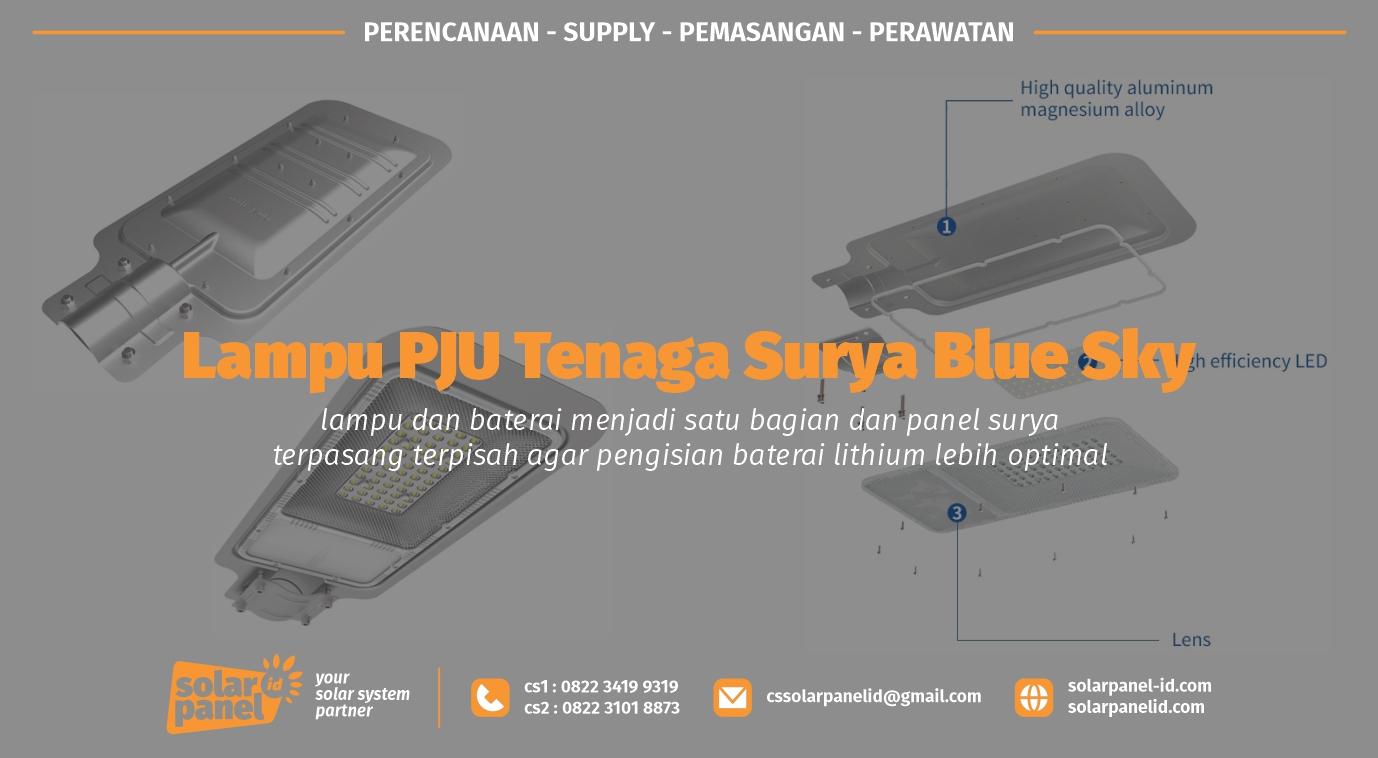 jual lampu pju tenaga surya blue sky 70 watt murah satu set
